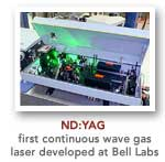 ND Yag was the first continuous wave gas laser developed at bell labs